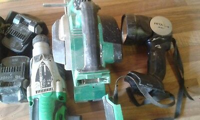 Hitachi 18volt cordless sds drill cordless planer torch and 3 batteries charger