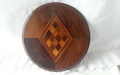 Antique Victorian Treen 'Apprentice Piece' Inlaid Marquetry Miniature Table Top