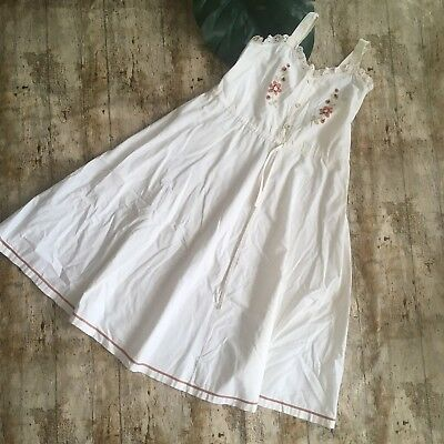 St Michael 60/70s Boho Dress - Size 12 Embroidered Vintage Marks And Spencer M&S