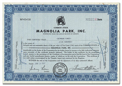 Magnolia Park, Inc. Stock Certificate (Louisiana Race Track)