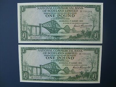 2No. CONSECUTIVE 1963 NATIONAL COMMERCIAL BANK OF SCOTLAND £1 BANKNOTES NICE EF