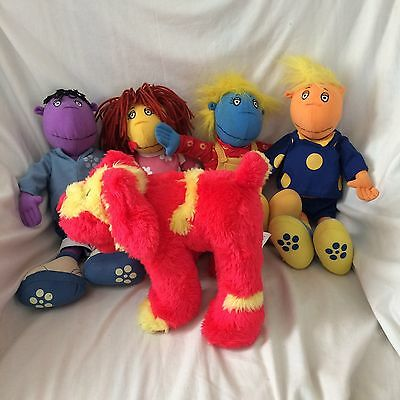 Tweenies, Bella Jake Fizz Milo & Doodles soft toys / Plush, 14 inches high