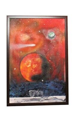 Beautiful Canvas Oil Earth And The Cosmos Scenery Painting by Visually Impaired