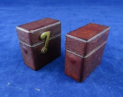 Lovely Leather Bound Antique/Vintage Travelling Inkwell & Matching Vesta Case