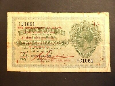 Malta  Two Shillings Reduced To One Shilling  George V 1918   #1290435/436