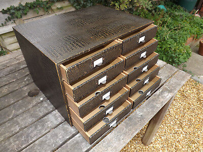 1930s/40s Imitation Crocodile Bank of 10 Office Filing/Stationery Drawers