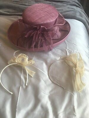 Jacques Vert Hat Worn Once Stunning !! 2 Fasinators Included As Bundle !!