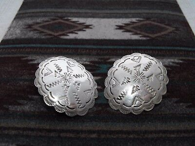 Vintage Southwest Sterling Silver Tribal Stamped Concho Earrings Taxco Pierced !