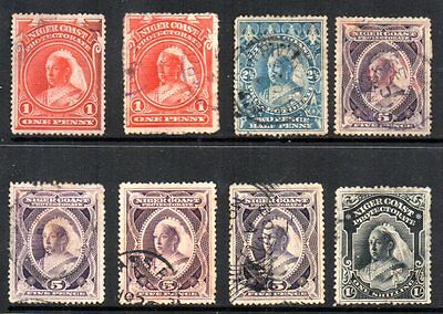 Oil Rivers: 1894 QVI vals (8) SG 52-6 used