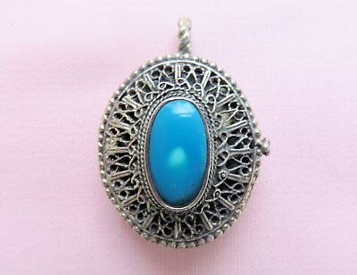 Bedouin Silver And Turquoise Pendant
