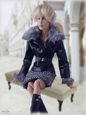 """Pretty Complete Set Ooak . Leather Jacket With Faux Fur Tweed Skirt """"boots"""" '16"""