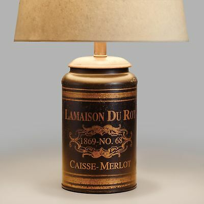 French Canister Accent Lamp Base ~ Iron & Wood ~ Black w/Vintage Antique Gold