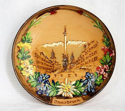 Vintage Hand Painted & Engraved Wooden Plate/Wall Plaque - Innsbruck