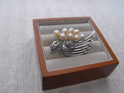 Vintage Sterling Silver Pearl Pin Brooch Floral Flower Spray Art Deco Boho Fan !