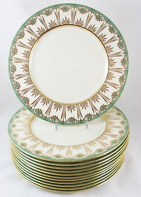Full Set 12 Dinner Plates Antique Lenox Bone China Teal Green Gold Floral Cream