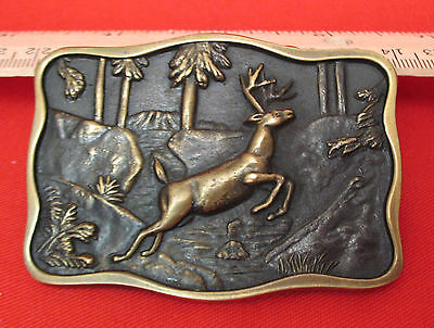 Vintage Attractive 1978 Bts Solid Brass Buck Jumping Belt Buckle Made In Usa