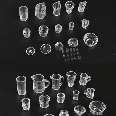 15pcs/Set Mini Transparent Drink Cups Dish Plate Tableware Miniatures ki
