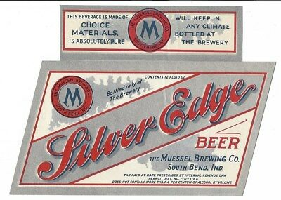 Muessel Brewing Silver Edge Beer label with neck IRTP U# South Bend IN