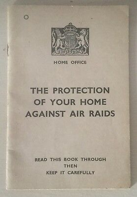 Genuine Ww2 Home Office Booklet - Protection Of Home Against Air Raids