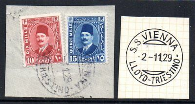 Egypt: 1929 Faud on piece cancelled SS Vienna Lloyd-Triestino