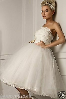 Sexy White/Ivory Short Wedding Dress Ball Bridesmaid Gown Prom Dress Size 6-16