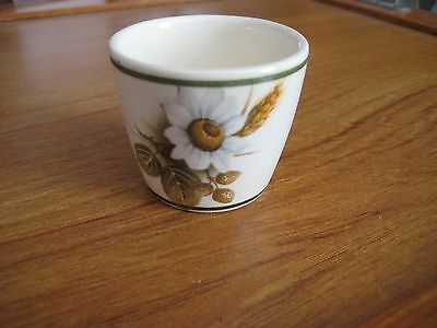 Vintage Brixham Pottery White Flower Egg Cup - Made in England - Devon (E)