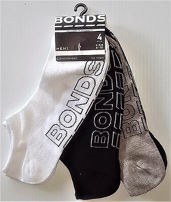 8 Pairs New Mens Sz 6-10 Bonds Cotton No Show Socks