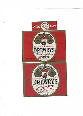 2 dif Drewrys Extra Dry Beer labels with 1 neck IRTP's South Bend IN