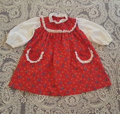 Vintage Baby Toddler Girls Red White Eyelet Dress Childrens Clothes