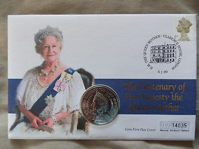 £5 five pound coin stamp first day cover queen mother centenary