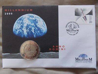 £5 five pound coin stamp first day cover Millennium 2000