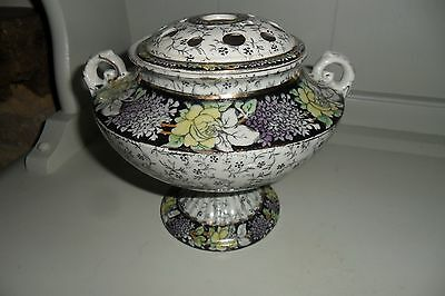 Antique Art Nouveau Acanthus Ceramic Rose Bowl with Ceramic Frog - C1910