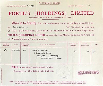 Forte's (Holdings) Ltd A ordinary share certificate 1963