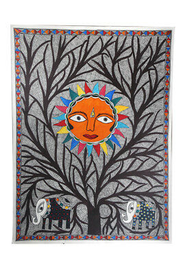 Multicolor Forest Summer Madhubani Wall Hanging by Artist from Bihar
