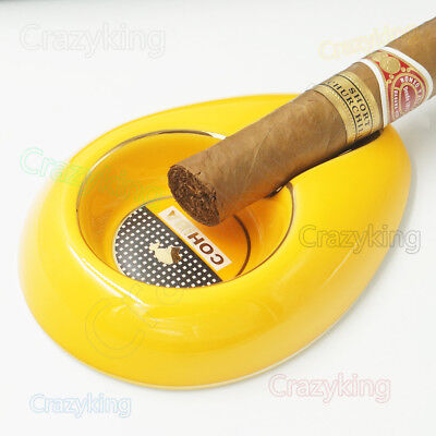 New Cohiba Yellow Bone Ceramic Cigar Cigartte Ashtray Showing Stand Free Ship
