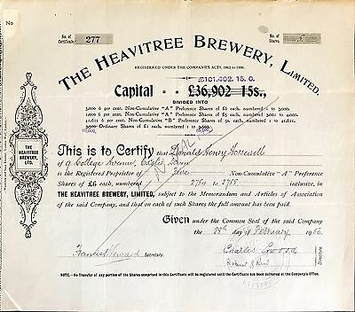 Heavitree Brewery Ltd A Preference share certificate 1950