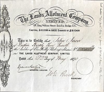 Land Allotment Company ordinary share certificate 1873