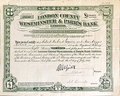 London County Westminster and Parrs Bank Ltd share certificate 1919