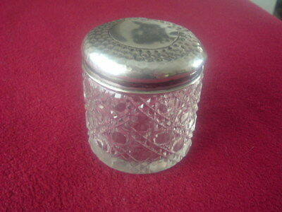 Silver Topped Dressing Table Jar with Hobnail cut Decoration 1914 Chester H'mk