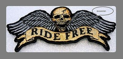 """Ride Free - Flying Winged Skull  4"""" Inch  Embroidered Biker Patch - Sew Or Iron"""