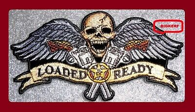 Loaded And Ready - Flying Winged Skull & Guns - Embroidered Patch - Sew Or Iron