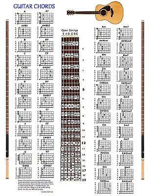 Guitar Chords Chart & Note Locator - Small Chart - 48 Chords