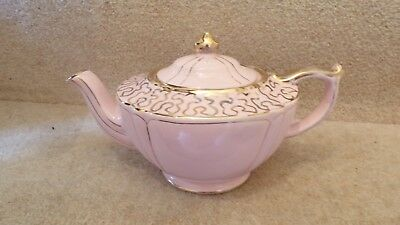 PRETTY VINTAGE SADLER PINK & Gold Teapot 10 x 5.5 inches approx