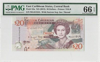 PMG 66EPQ EAST CARIBBEAN ND(2012) 20 DOLLARS P53a