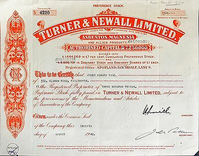 Turner and Newall Ltd Preference share certificate 1949