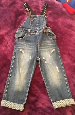 Boys Next Signature Denim Dungarees With Braces   Age 2-3 Years