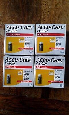 Brand New and Sealed Accu-Chek FastClix 200+4 Lancets x4 Boxes