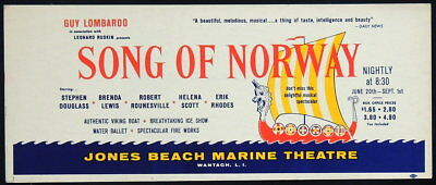 TRITON offers 1958 original taxi poster SONG OF NORWAY  Jones Beach production