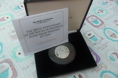 T.d.c 2015 Solid Silver Piedfort £5 Coin, Battle Of Waterloo, Ltd Edition Of 45
