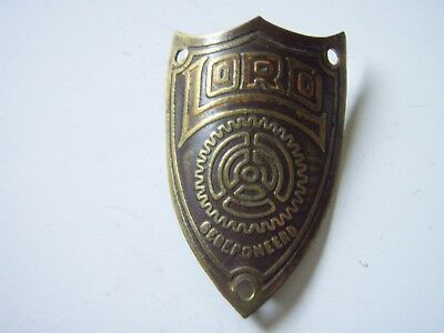 "Vintage Brass Oldtimer Bicycle Head Badge "" Lord ""."